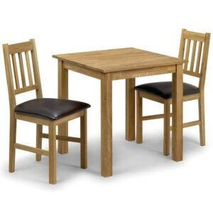 Coxmoor Small Dining Table With 2 Intense Dark Brown Chairs In Soild American Oak