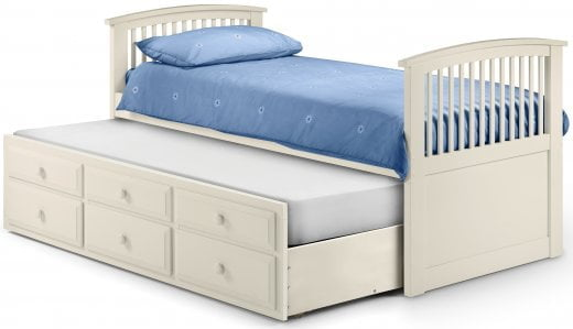 Hornblower Wooden Single Cabin Bed Frame With Three Drawers In Stone White