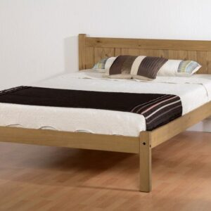 MAYA SMALL DOUBLE 4ft SOLID DISTRESSED WAX PINE WOOD BED FRAME