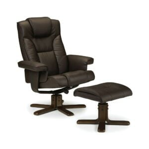 Malmo Swivel Recliner Armchair Seat With Footstool In Black Or Dark Brown Faux Leather
